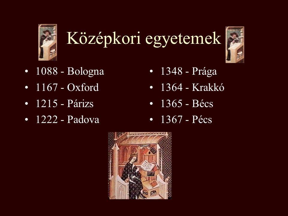 Középkori egyetemek 1088 - Bologna 1167 - Oxford 1215 - Párizs