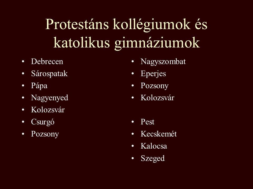 Protestáns kollégiumok és katolikus gimnáziumok