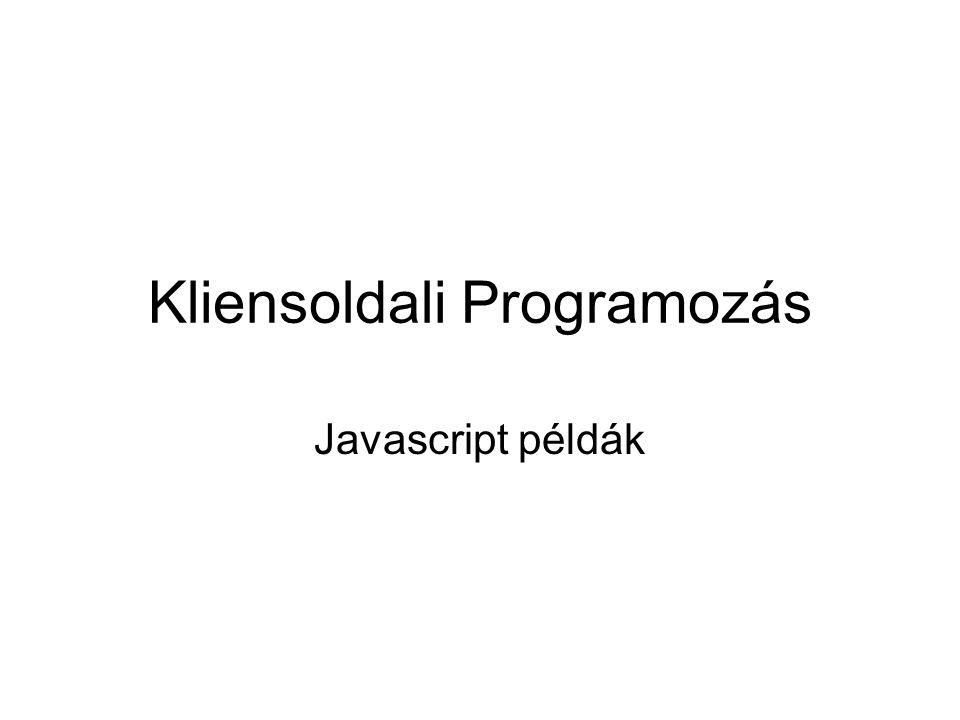 Kliensoldali Programozás