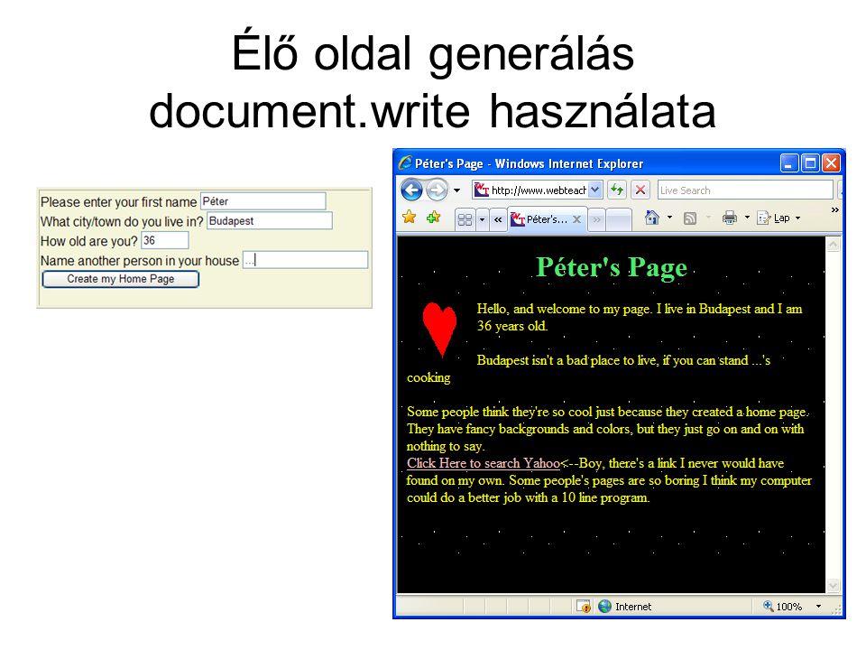 Élő oldal generálás document.write használata