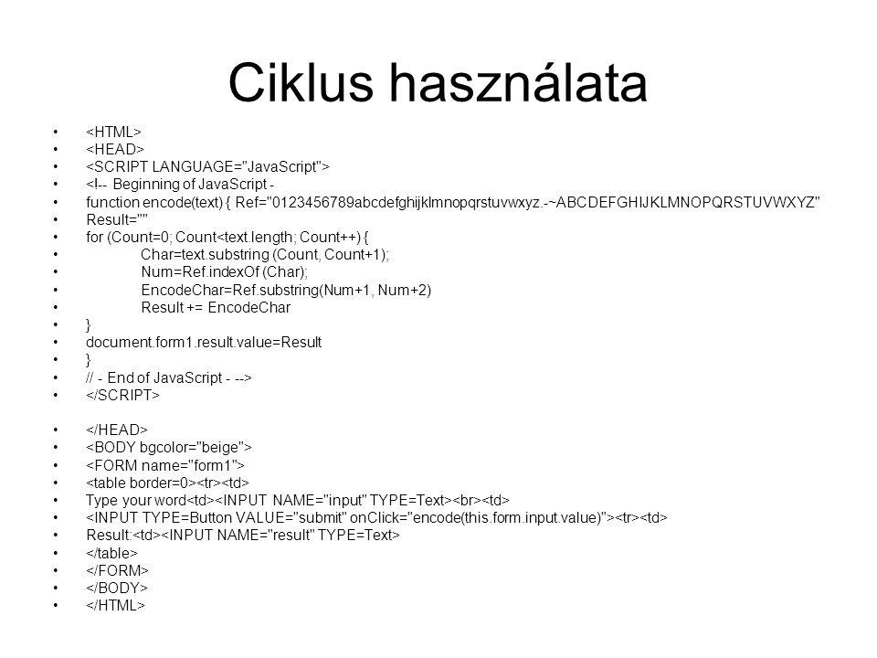 Ciklus használata <HTML> <HEAD>