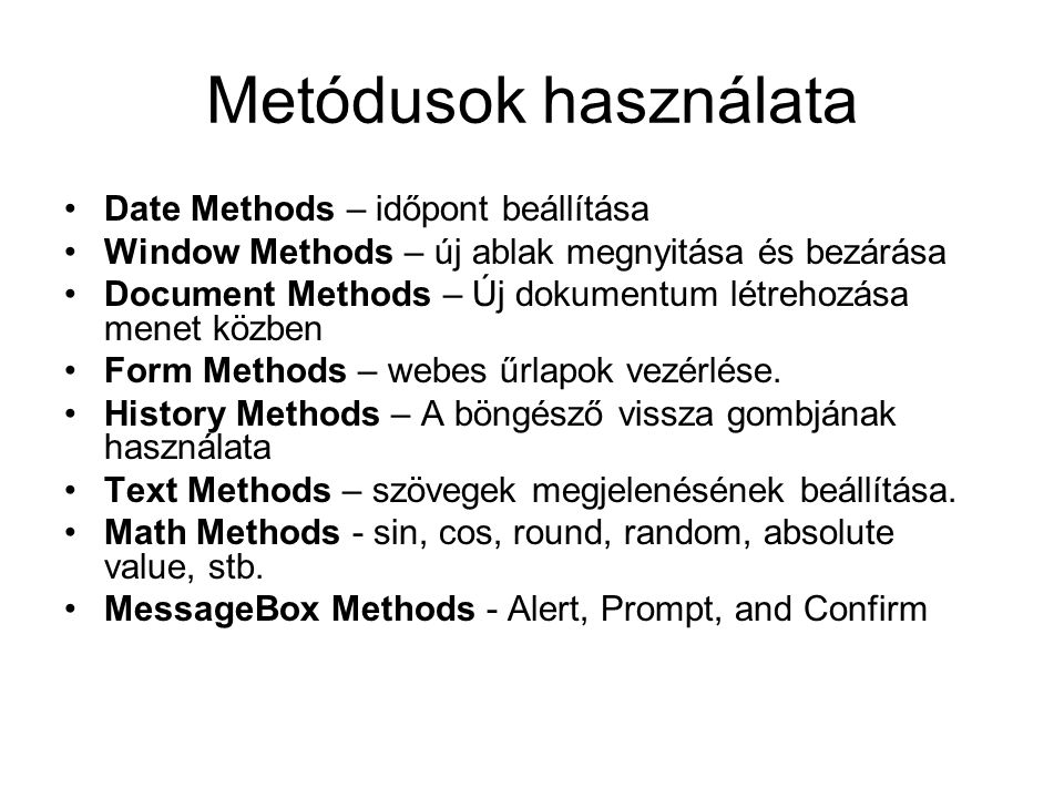 Metódusok használata Date Methods – időpont beállítása