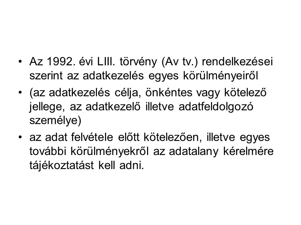 Az 1992. évi LIII. törvény (Av tv