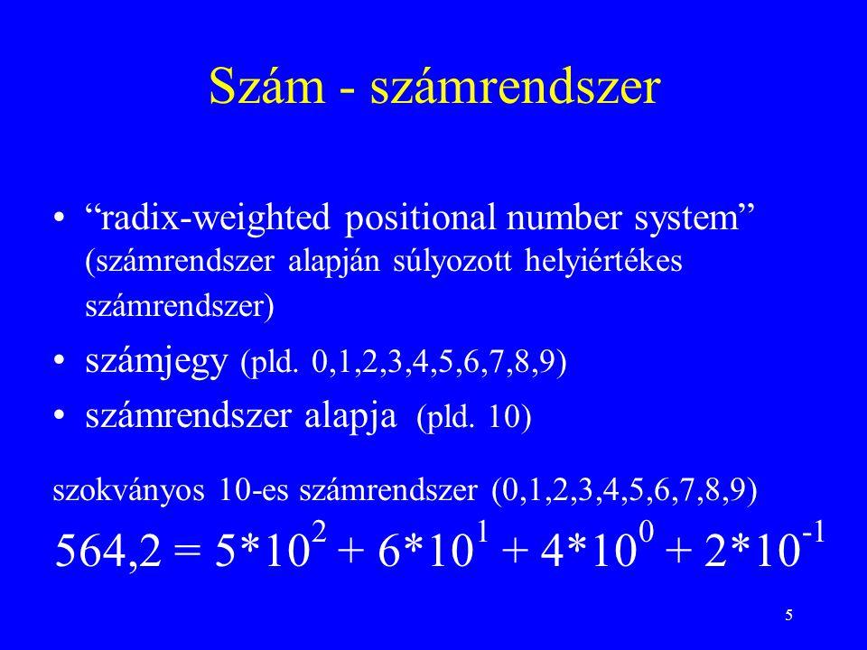 Szám - számrendszer 564,2 = 5*102 + 6*101 + 4*100 + 2*10-1