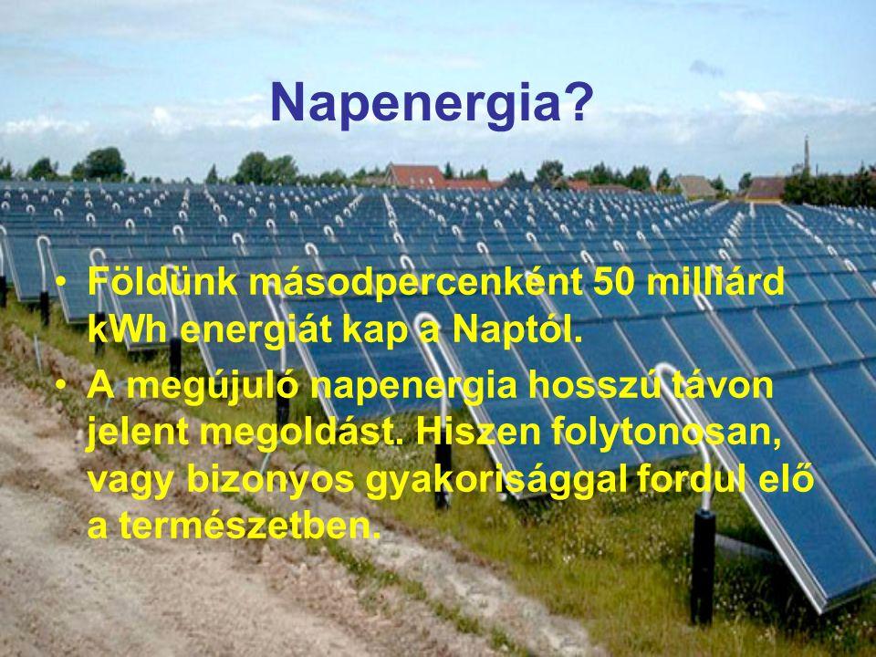 Napenergia Földünk másodpercenként 50 milliárd kWh energiát kap a Naptól.