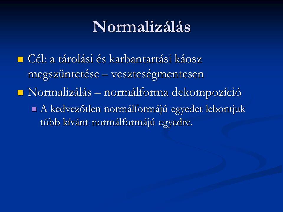 Normalizálás Cél: a tárolási és karbantartási káosz megszüntetése – veszteségmentesen. Normalizálás – normálforma dekompozíció.