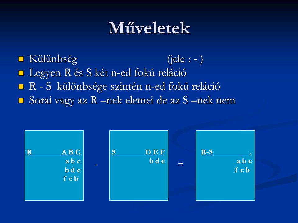 Műveletek Külünbség (jele : - ) Legyen R és S két n-ed fokú reláció