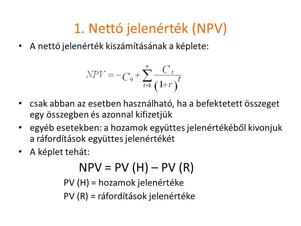 1. Nettó jelenérték (NPV)
