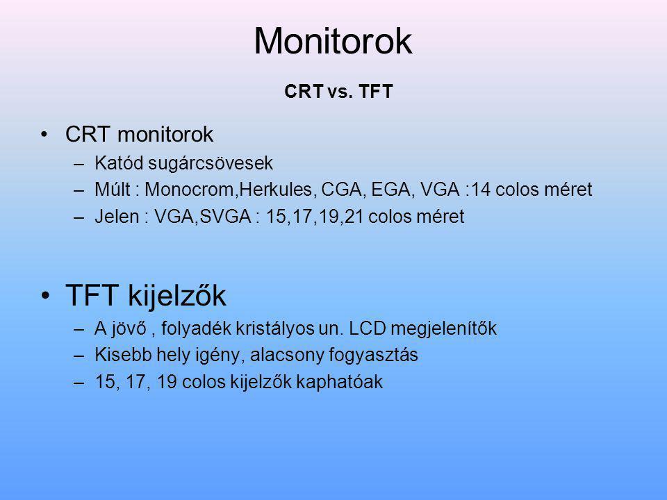Monitorok CRT vs. TFT TFT kijelzők CRT monitorok Katód sugárcsövesek