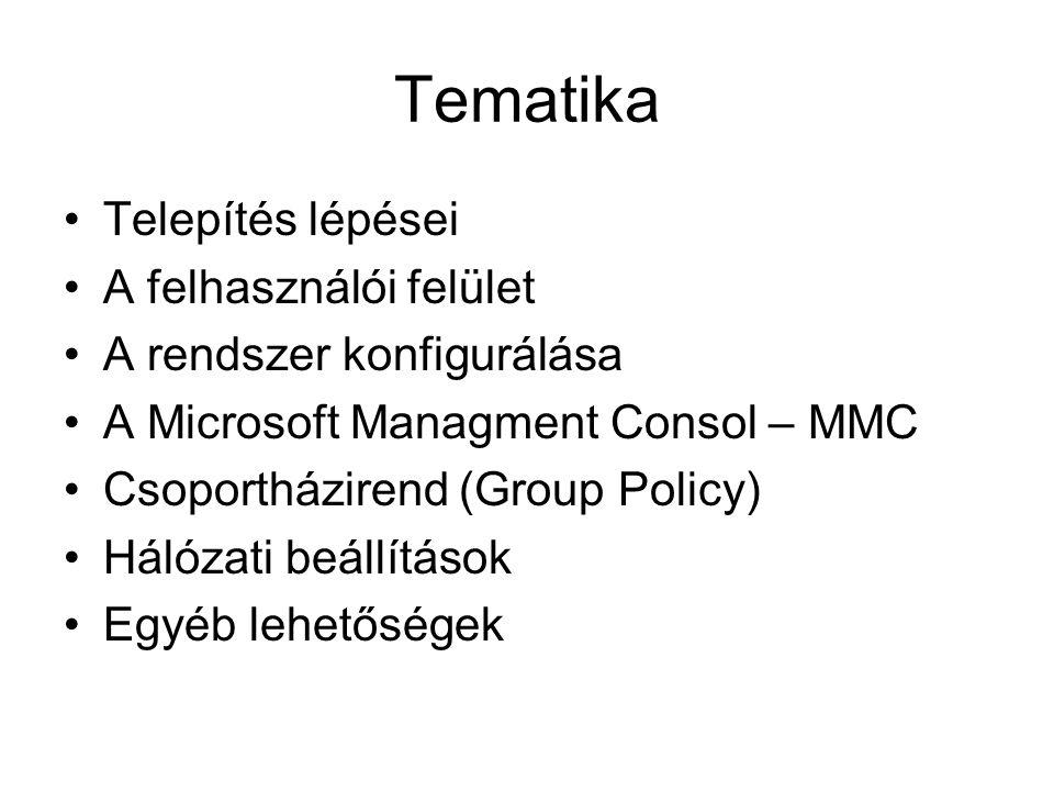 Tematika Telepítés lépései A felhasználói felület