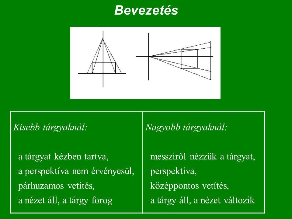 Bevezetés Kisebb tárgyaknál: a tárgyat kézben tartva, a perspektíva nem érvényesül, párhuzamos vetítés, a nézet áll, a tárgy forog.