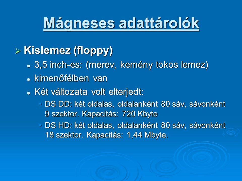 Mágneses adattárolók Kislemez (floppy)