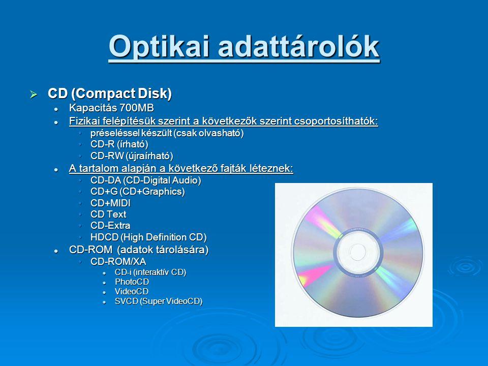 Optikai adattárolók CD (Compact Disk) Kapacitás 700MB