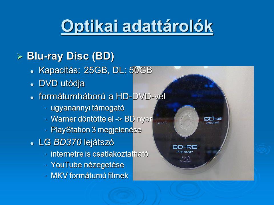 Optikai adattárolók Blu-ray Disc (BD) Kapacitás: 25GB, DL: 50GB