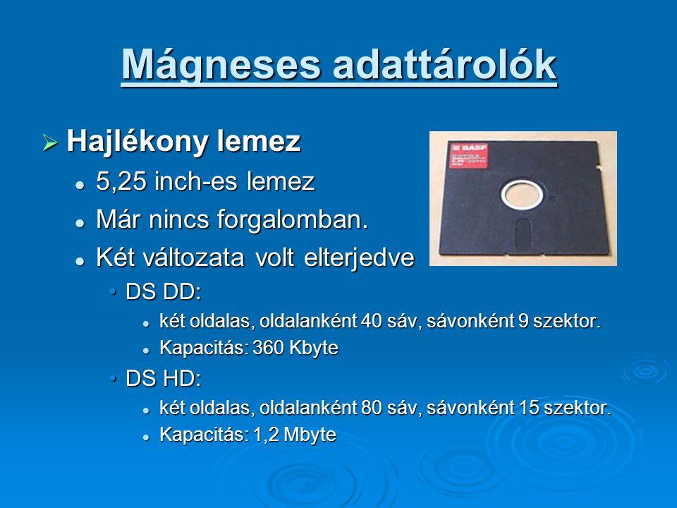 Mágneses adattárolók Hajlékony lemez 5,25 inch-es lemez