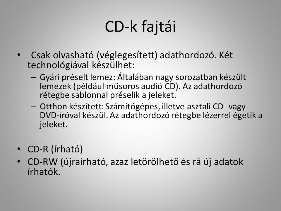 CD-k fajtái Csak olvasható (véglegesített) adathordozó. Két technológiával készülhet: