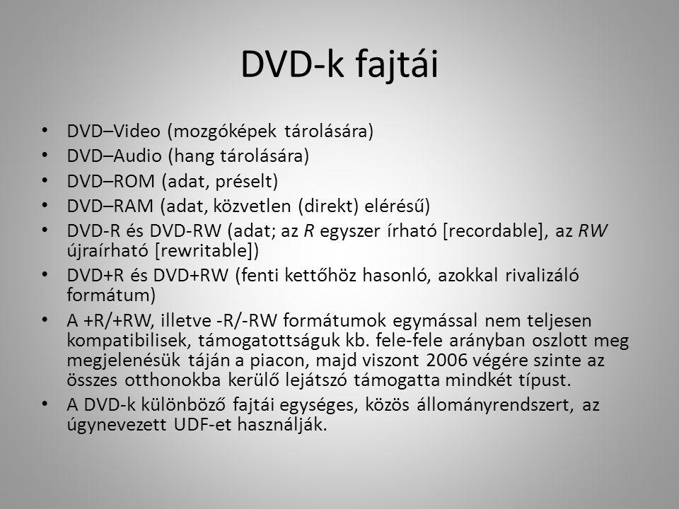 DVD-k fajtái DVD–Video (mozgóképek tárolására)