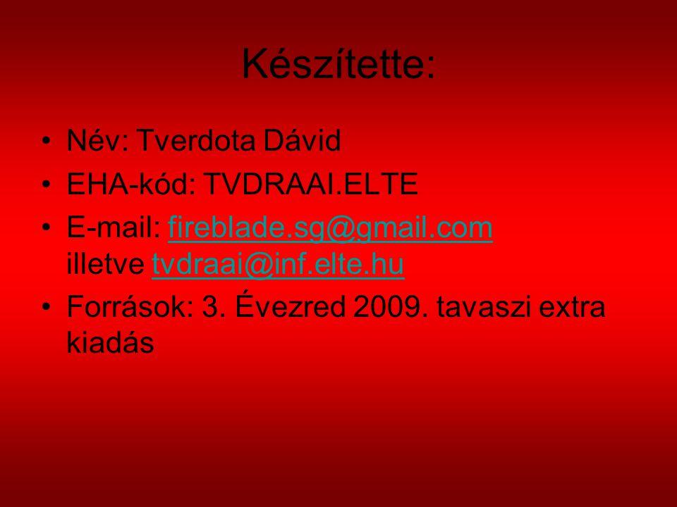 Készítette: Név: Tverdota Dávid EHA-kód: TVDRAAI.ELTE