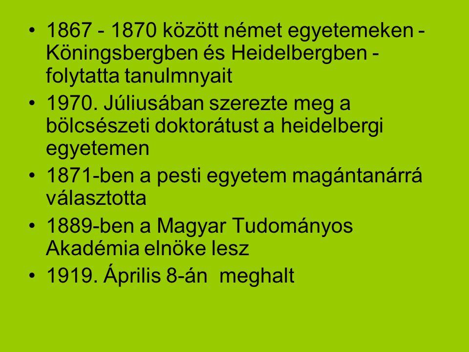 1867 - 1870 között német egyetemeken - Köningsbergben és Heidelbergben - folytatta tanulmnyait