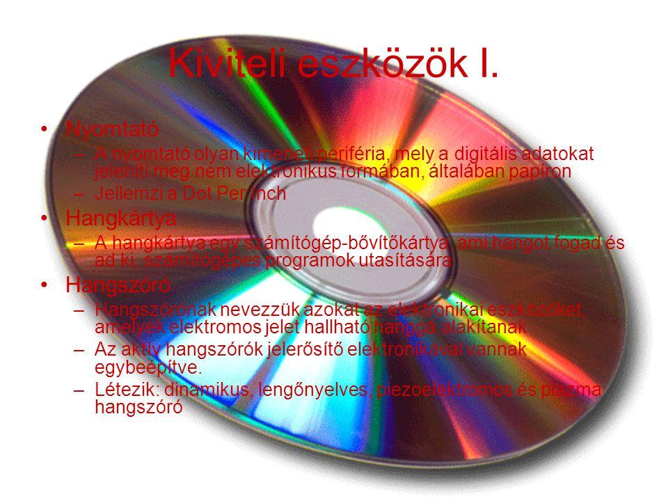 Kiviteli eszközök I. Nyomtató Hangkártya Hangszóró