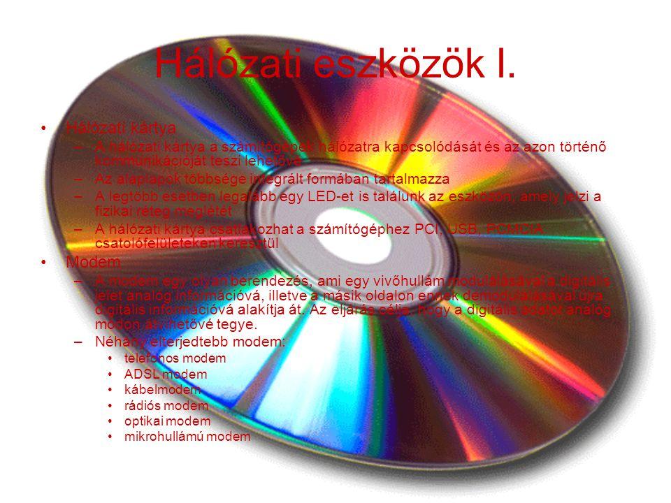 Hálózati eszközök I. Hálózati kártya Modem