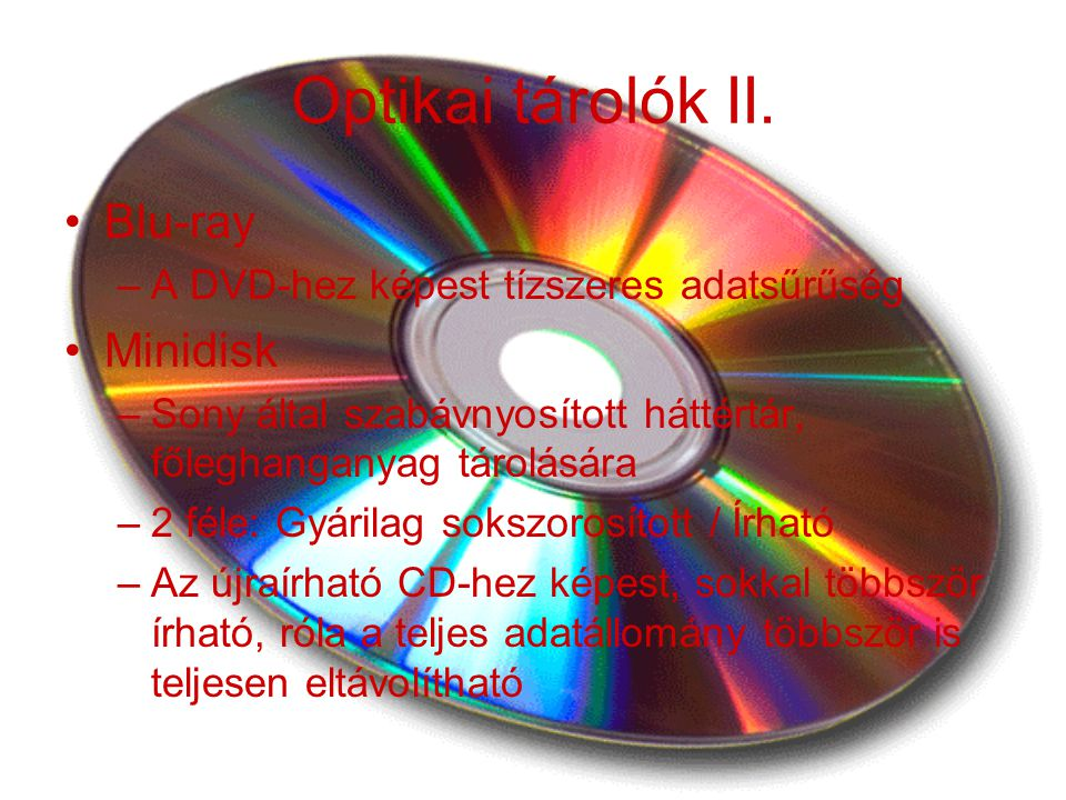 Optikai tárolók II. Blu-ray Minidisk