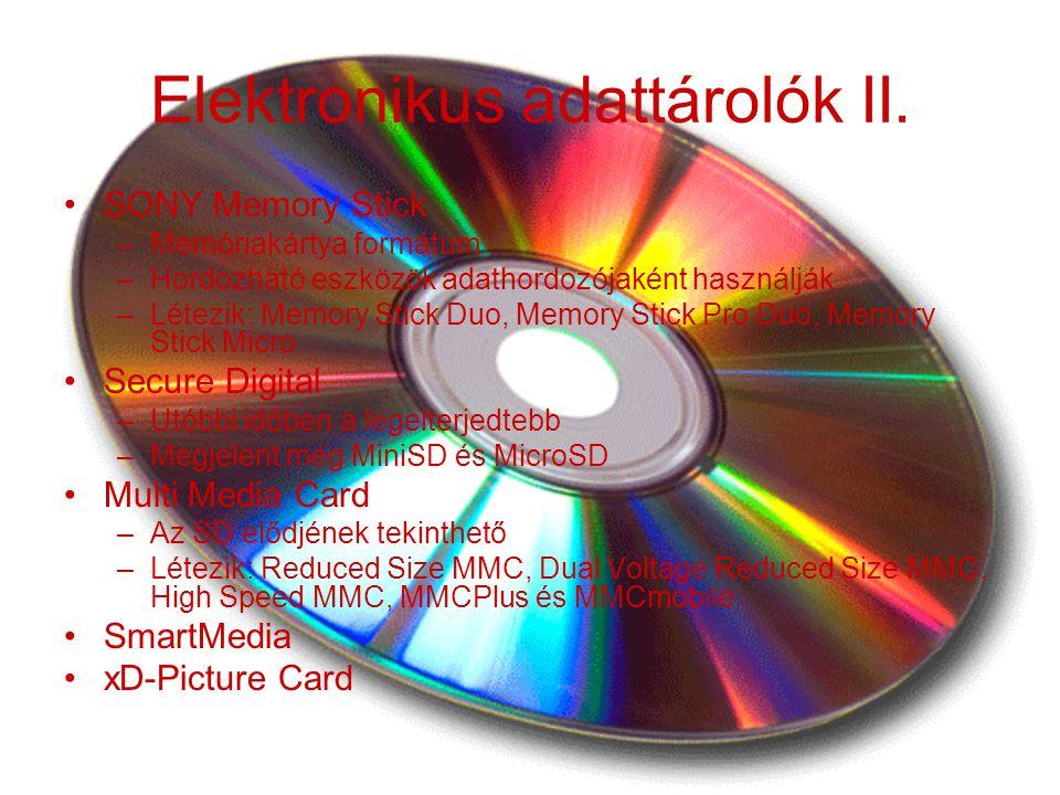 Elektronikus adattárolók II.