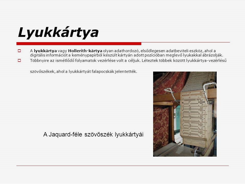 Lyukkártya A Jaquard-féle szövőszék lyukkártyái