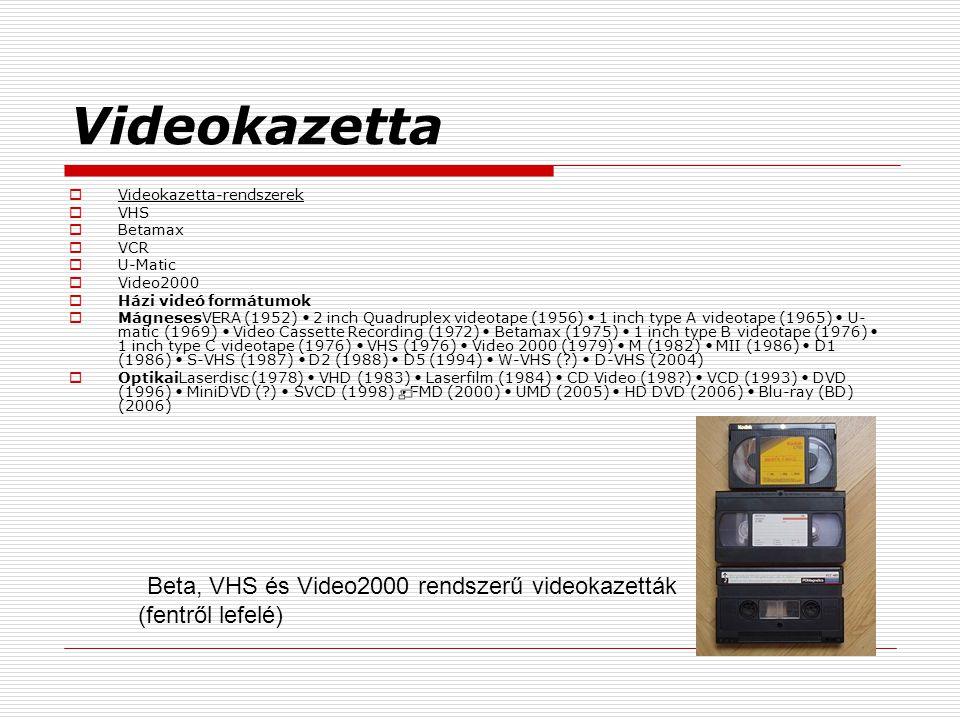 Videokazetta Videokazetta-rendszerek VHS Betamax VCR U-Matic Video2000