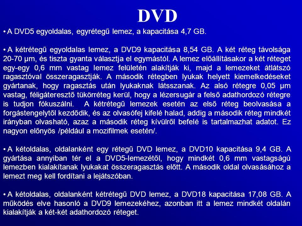 DVD A DVD5 egyoldalas, egyrétegű lemez, a kapacitása 4,7 GB.