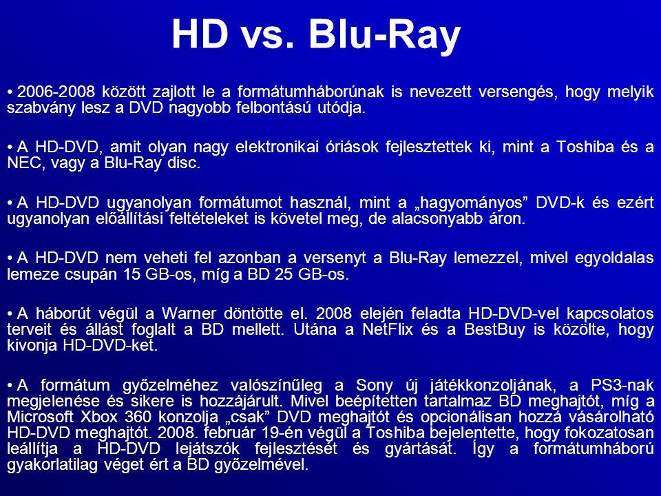 HD vs. Blu-Ray 2006-2008 között zajlott le a formátumháborúnak is nevezett versengés, hogy melyik szabvány lesz a DVD nagyobb felbontású utódja.
