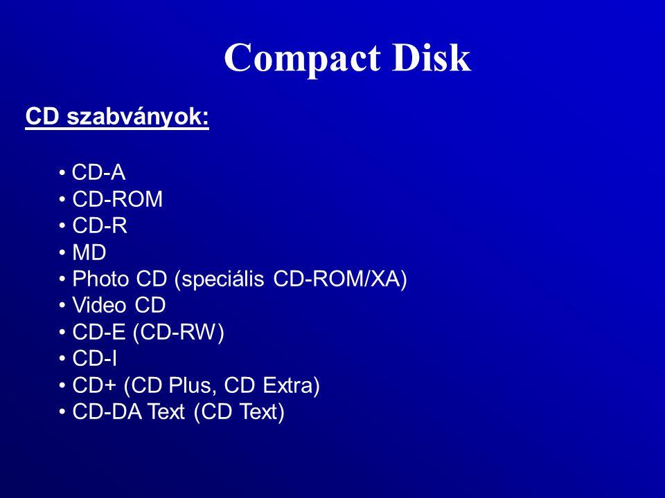 Compact Disk CD szabványok: CD-A CD-ROM CD-R MD