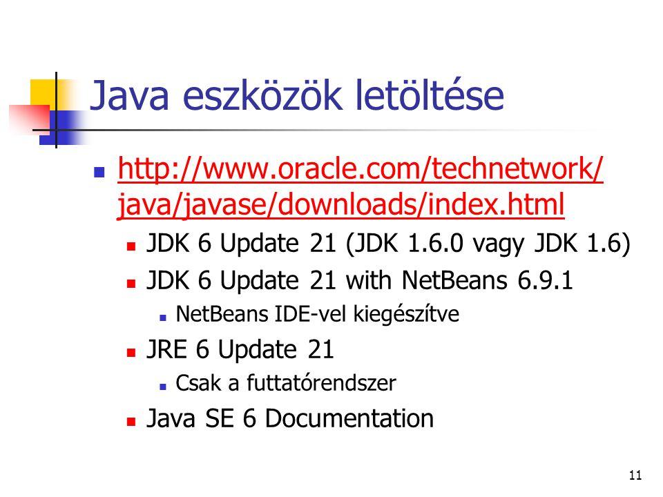 Java eszközök letöltése