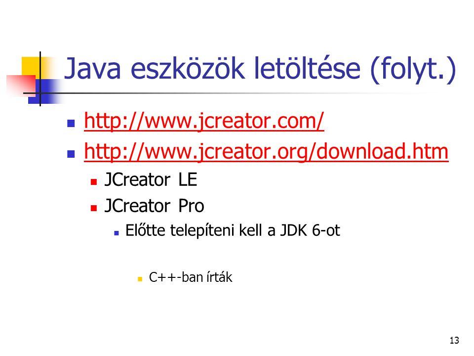 Java eszközök letöltése (folyt.)