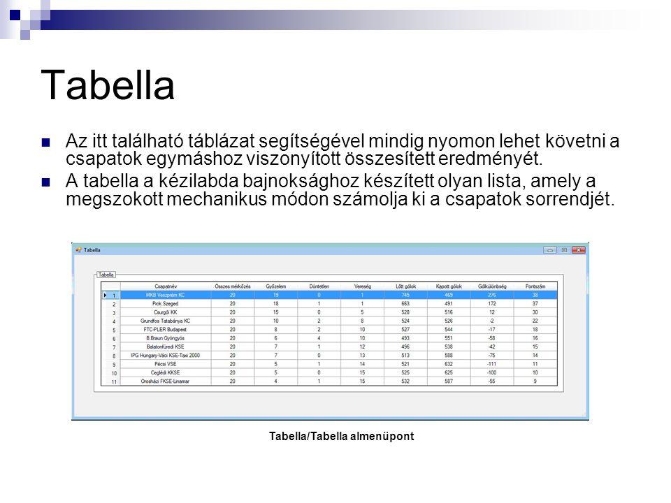 Tabella/Tabella almenüpont