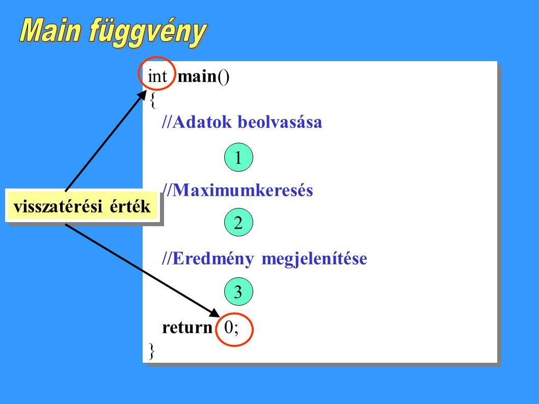 Main függvény int main() { //Adatok beolvasása //Maximumkeresés 1
