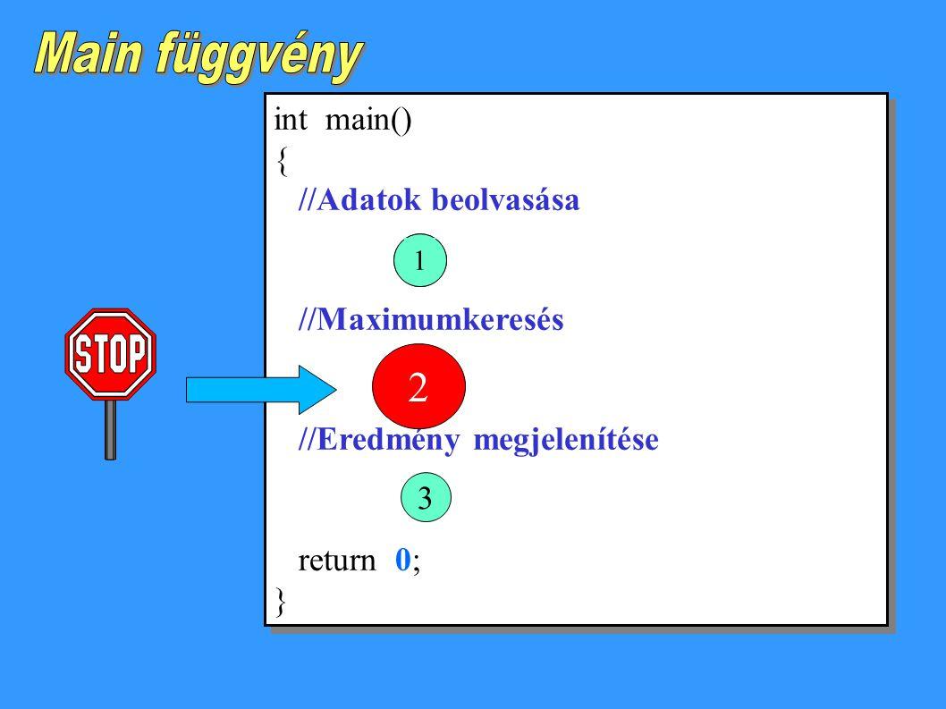 Main függvény 2 int main() { //Adatok beolvasása //Maximumkeresés
