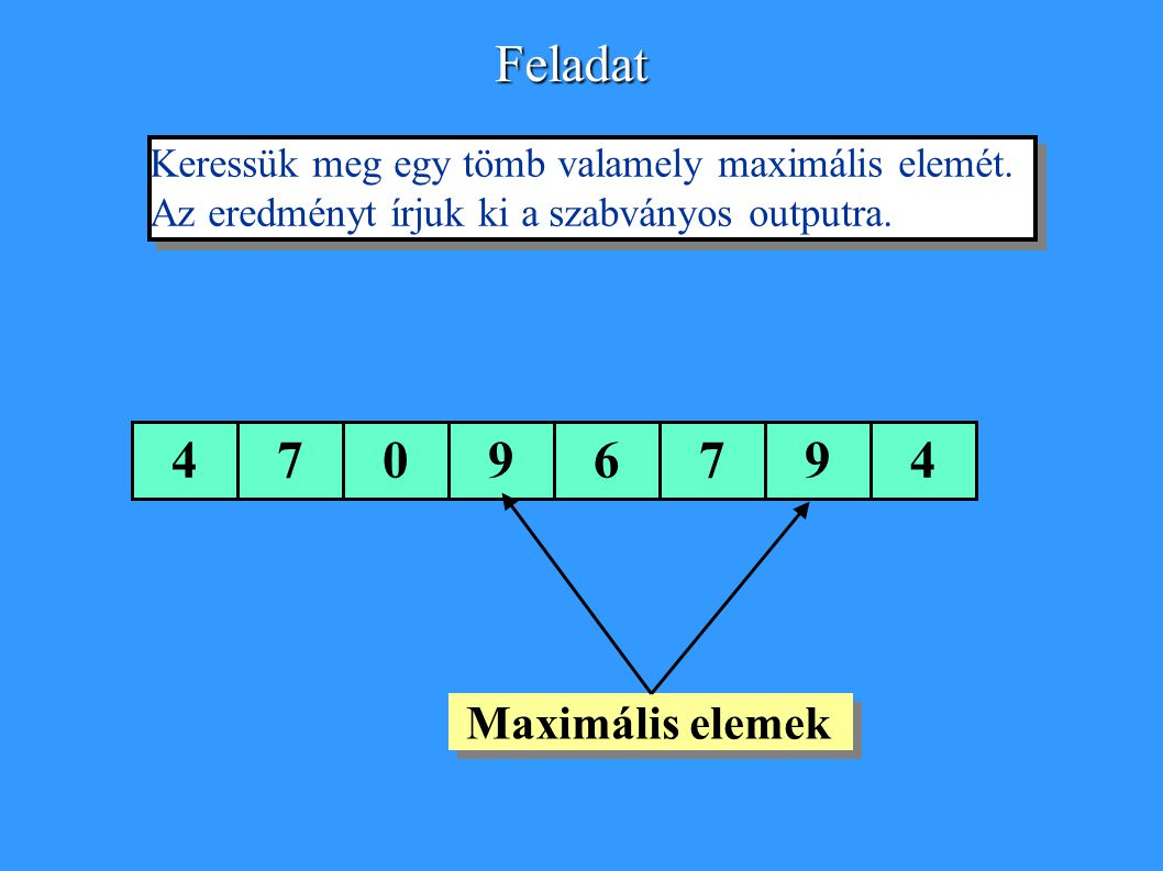 Feladat 4 7 9 6 Keressük meg egy tömb valamely maximális elemét.