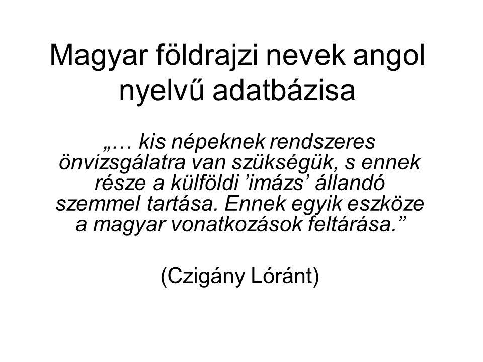 Magyar földrajzi nevek angol nyelvű adatbázisa