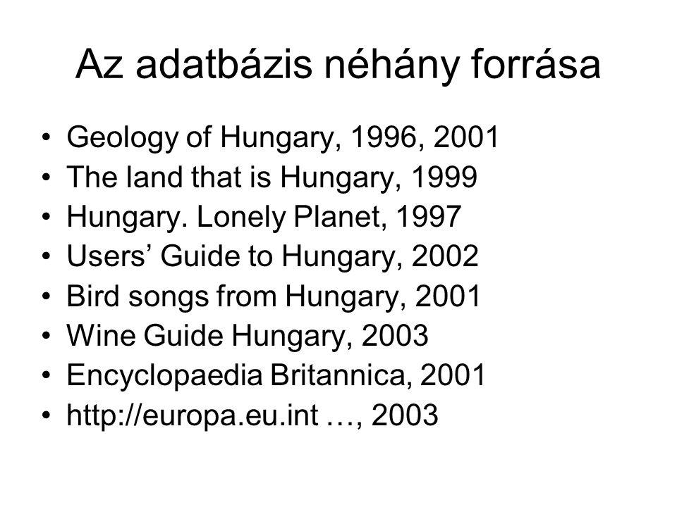Az adatbázis néhány forrása
