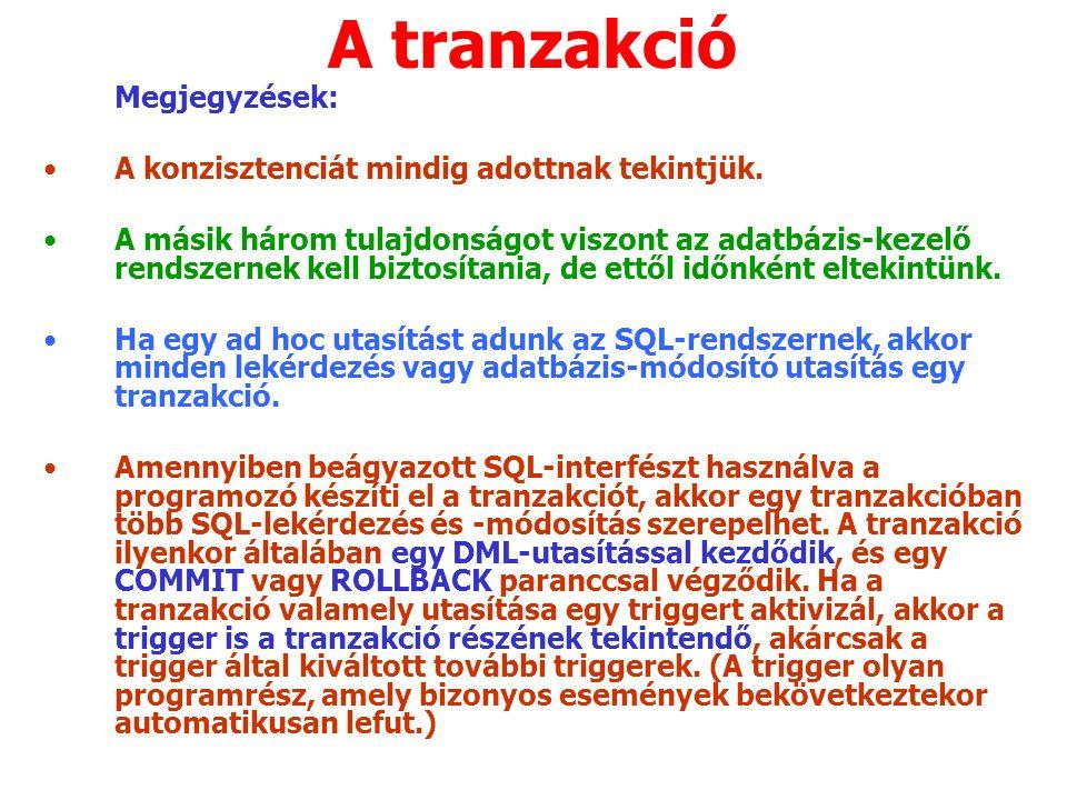 A tranzakció Megjegyzések: A konzisztenciát mindig adottnak tekintjük.
