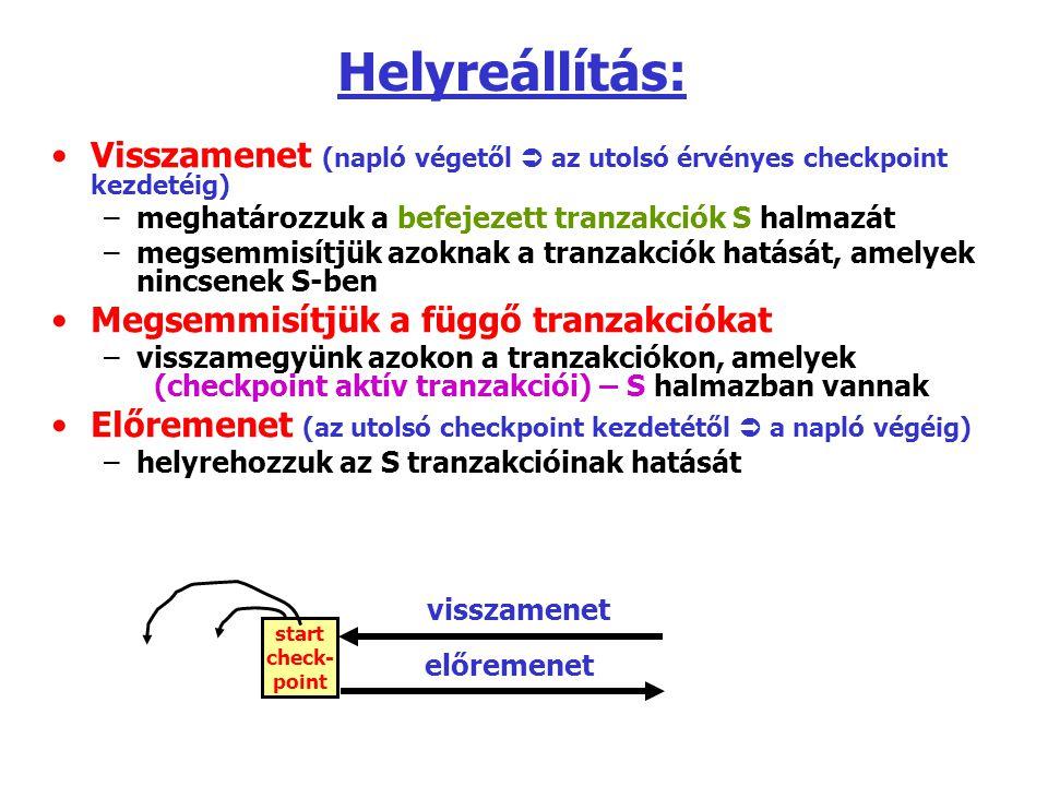 Helyreállítás: Visszamenet (napló végetől  az utolsó érvényes checkpoint kezdetéig) meghatározzuk a befejezett tranzakciók S halmazát.