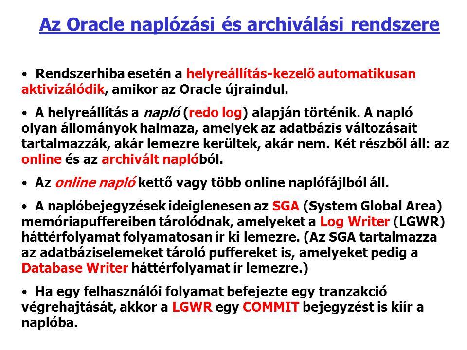 Az Oracle naplózási és archiválási rendszere