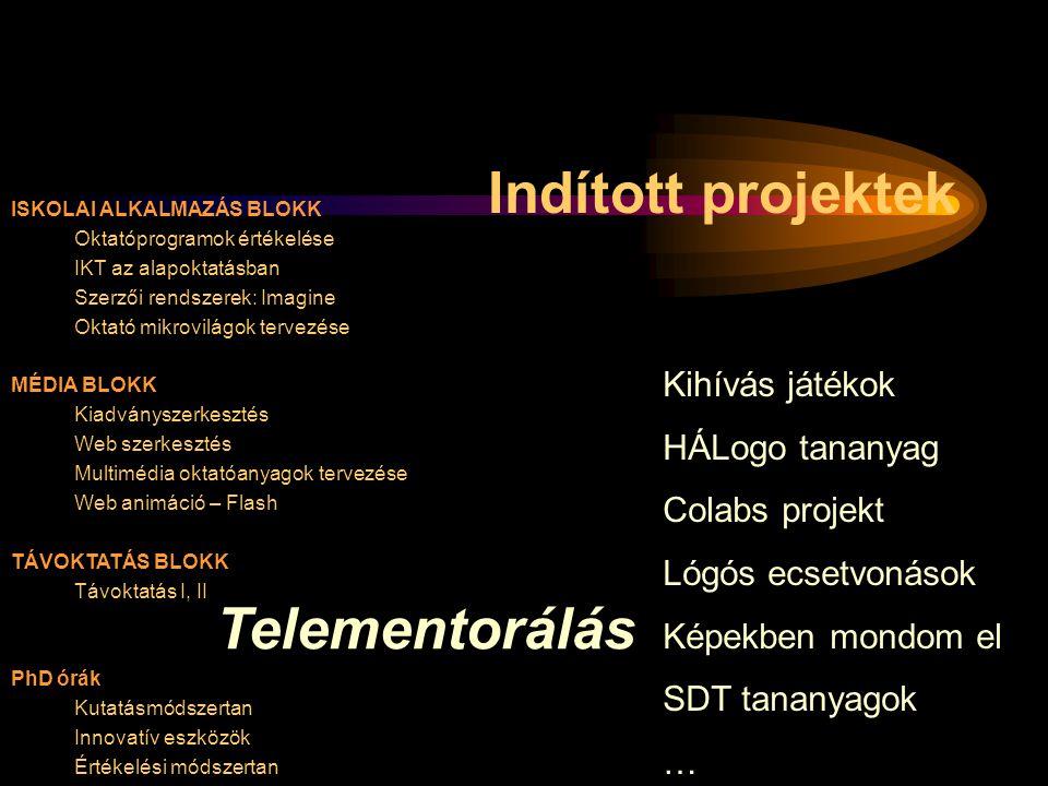 Indított projektek Telementorálás Kihívás játékok HÁLogo tananyag