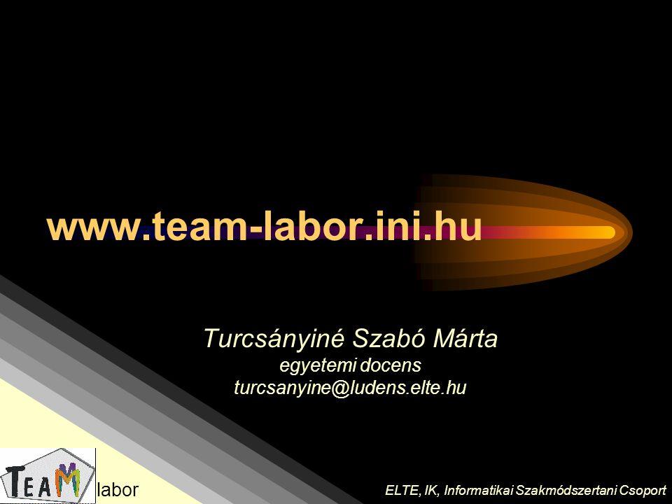 Turcsányiné Szabó Márta egyetemi docens turcsanyine@ludens.elte.hu