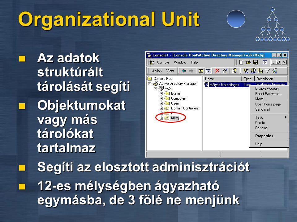 Organizational Unit Az adatok struktúrált tárolását segíti