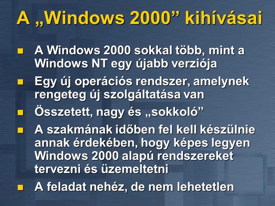 """A """"Windows 2000 kihívásai A Windows 2000 sokkal több, mint a Windows NT egy újabb verziója."""