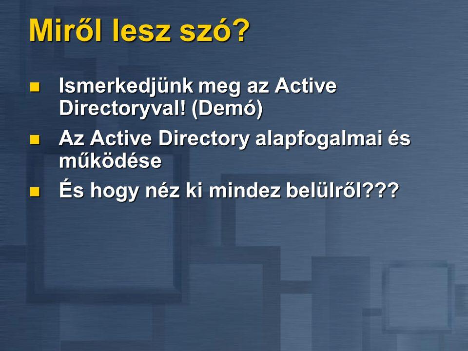 Miről lesz szó Ismerkedjünk meg az Active Directoryval! (Demó)