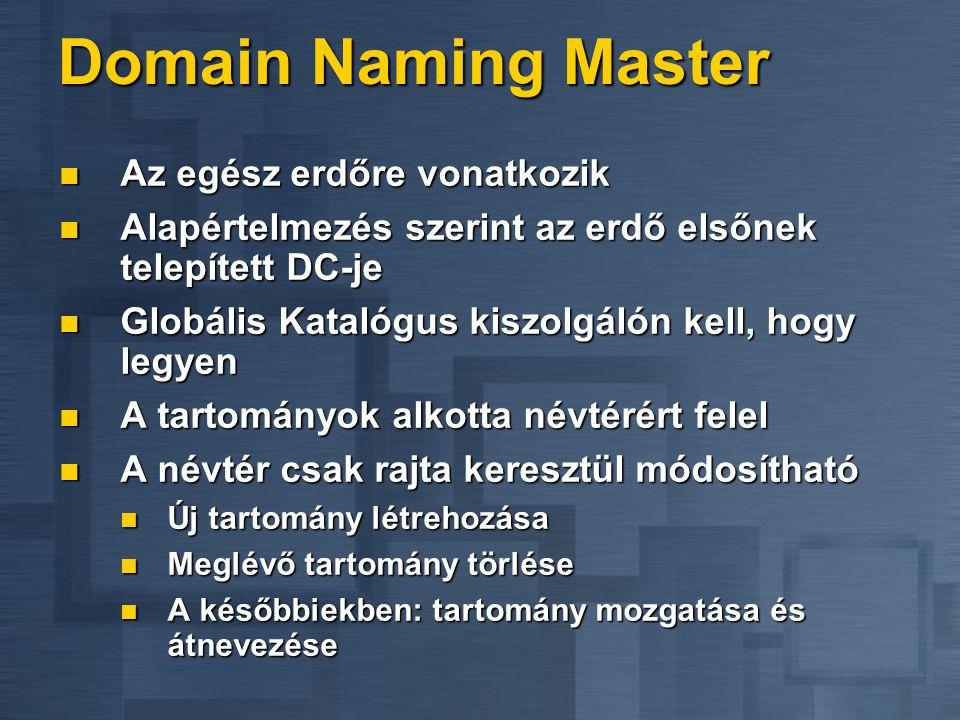 Domain Naming Master Az egész erdőre vonatkozik