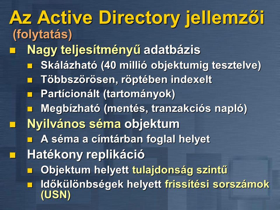 Az Active Directory jellemzői (folytatás)